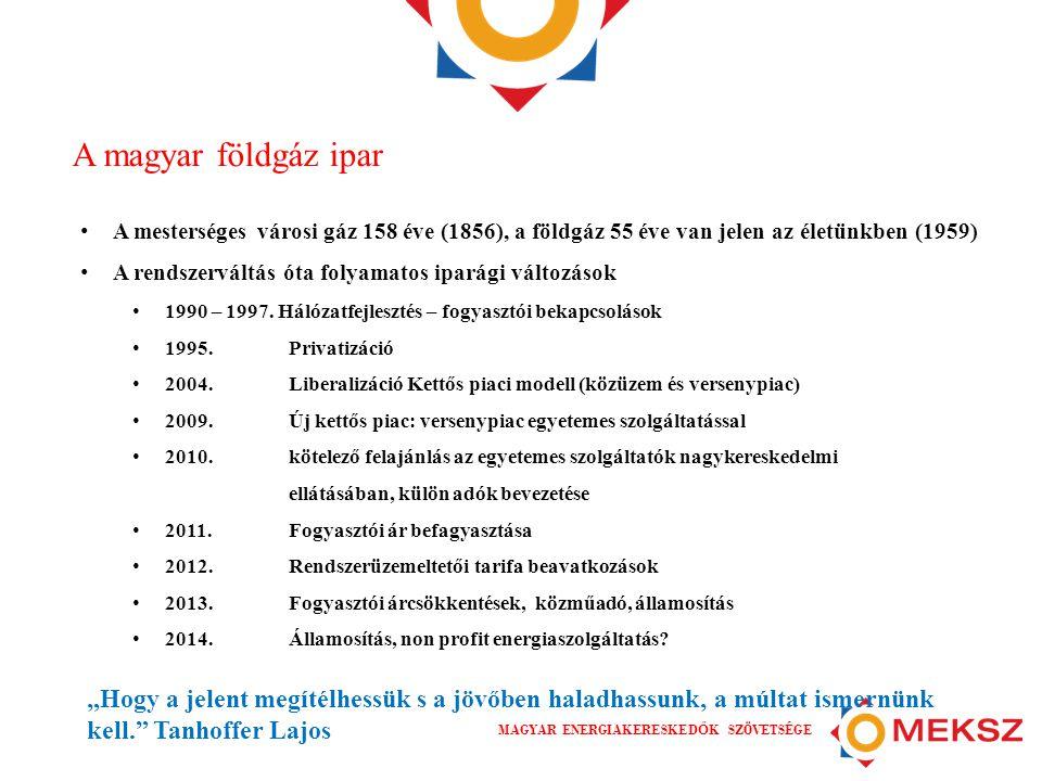 A magyar földgáz ipar A mesterséges városi gáz 158 éve (1856), a földgáz 55 éve van jelen az életünkben (1959)