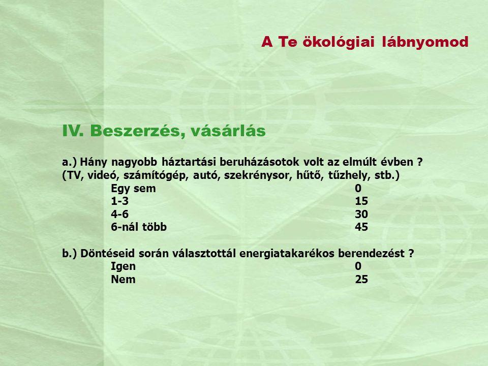 IV. Beszerzés, vásárlás A Te ökológiai lábnyomod