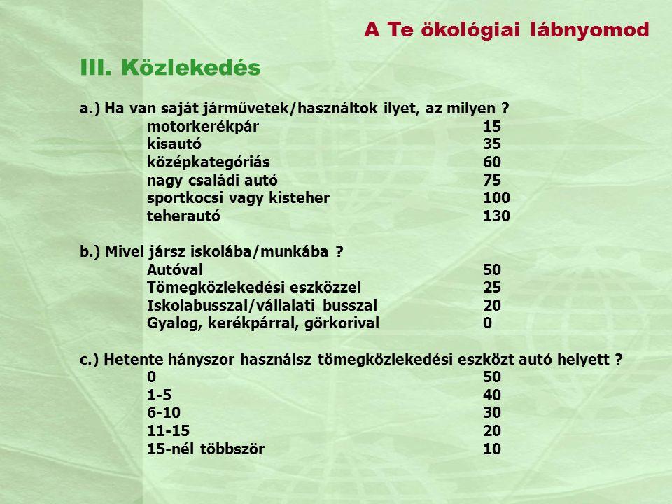 III. Közlekedés A Te ökológiai lábnyomod