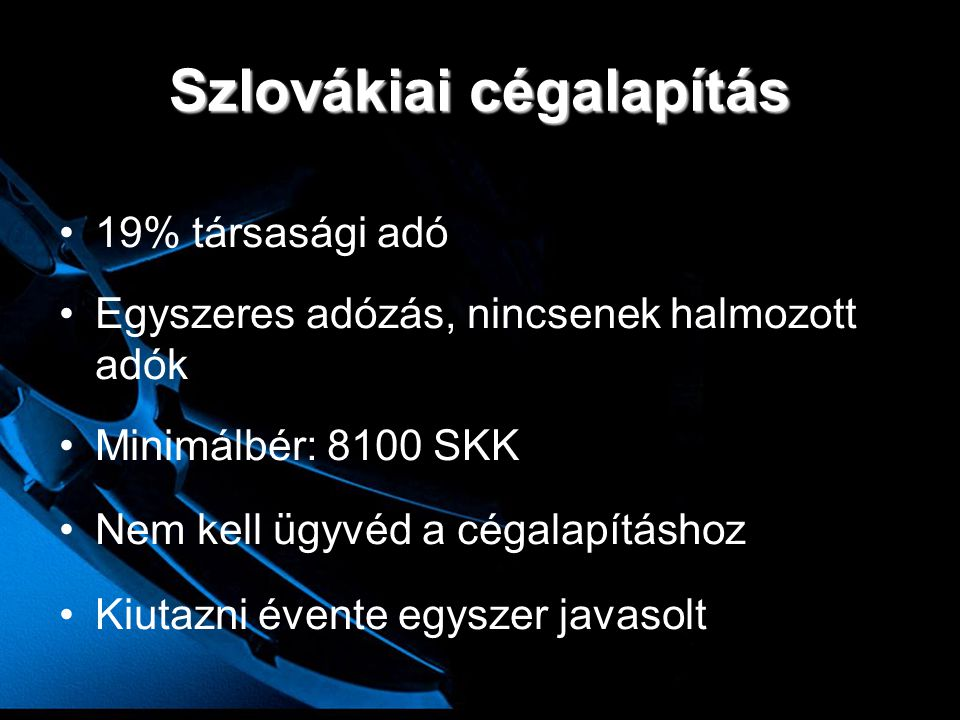Szlovákiai cégalapítás