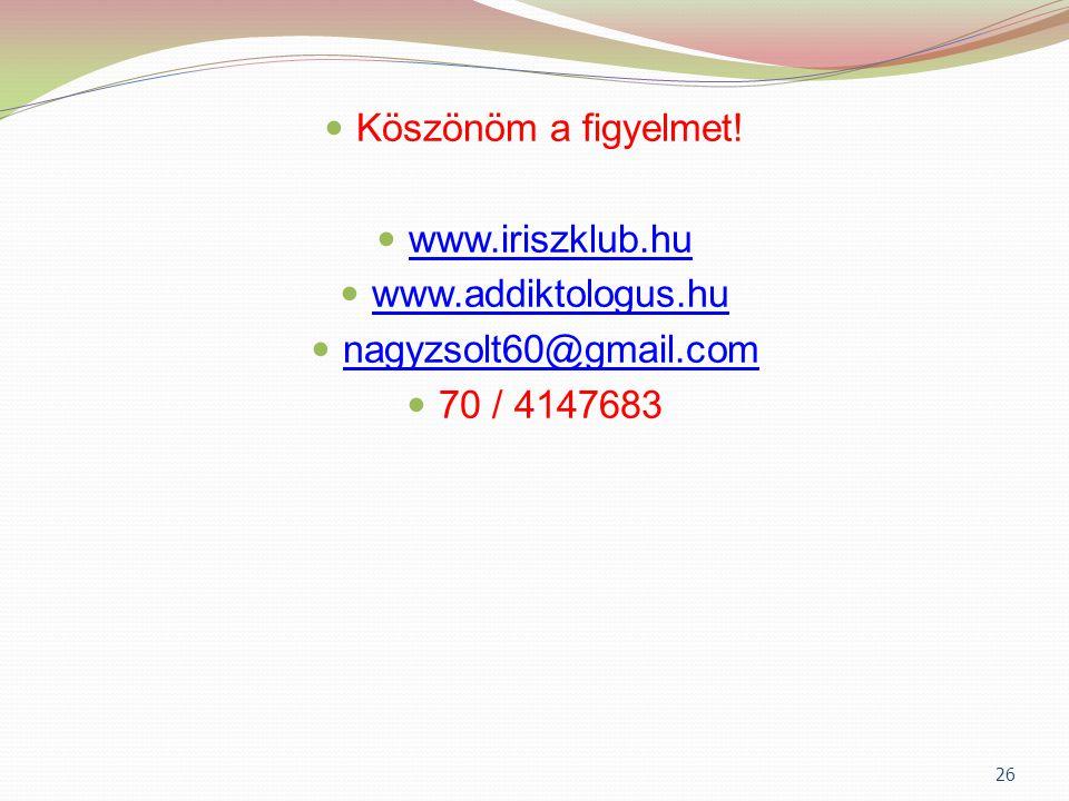 Köszönöm a figyelmet! www.iriszklub.hu www.addiktologus.hu nagyzsolt60@gmail.com 70 / 4147683