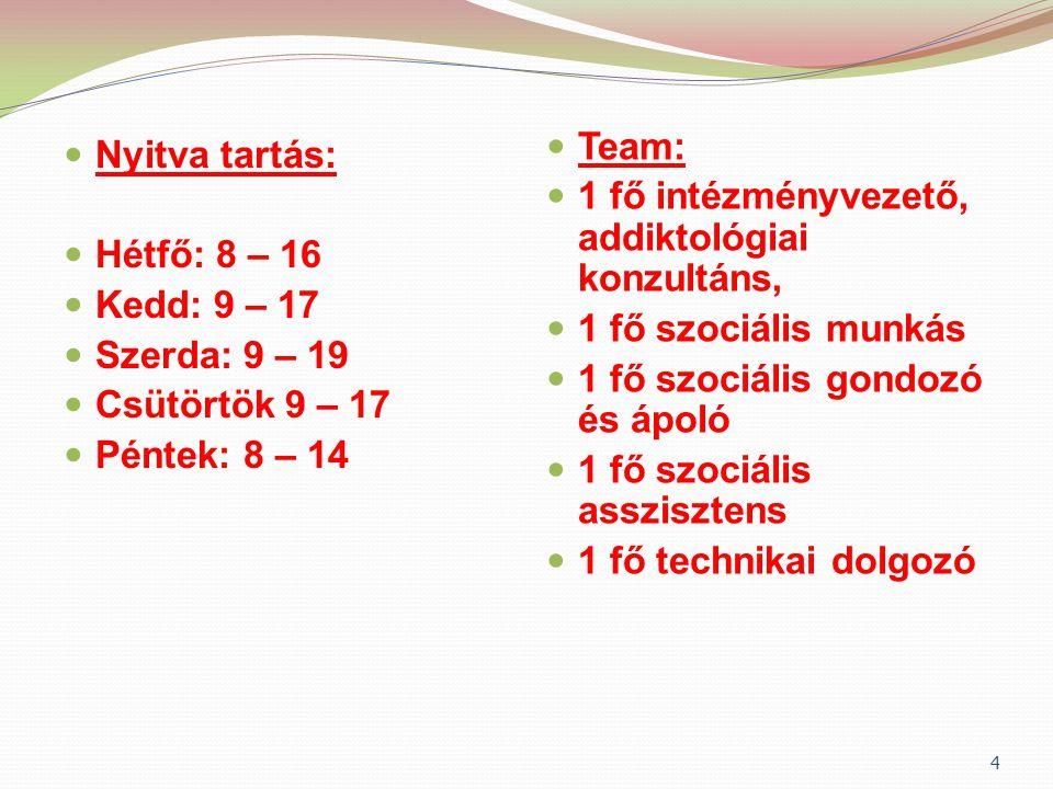 Team: 1 fő intézményvezető, addiktológiai konzultáns, 1 fő szociális munkás. 1 fő szociális gondozó és ápoló.