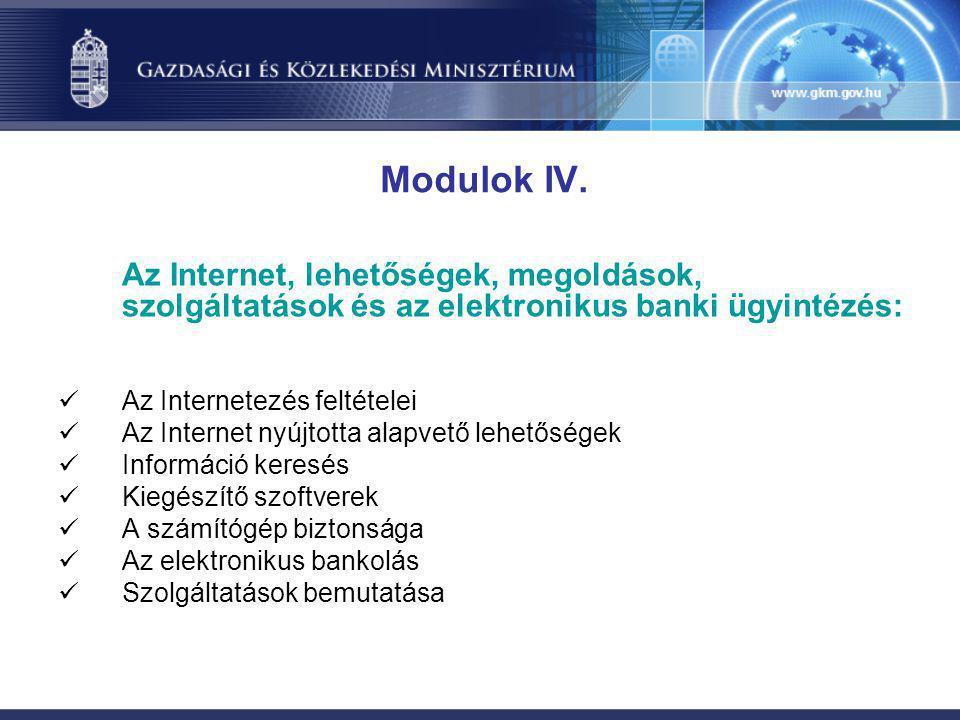 Modulok IV. Az Internet, lehetőségek, megoldások, szolgáltatások és az elektronikus banki ügyintézés: