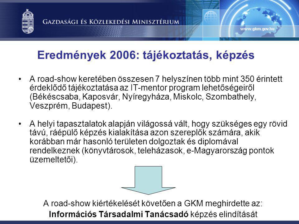 Eredmények 2006: tájékoztatás, képzés