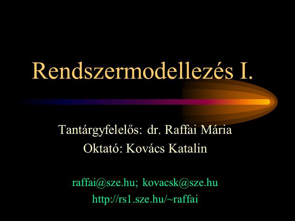 Rendszermodellezés I. Tantárgyfelelős: dr. Raffai Mária