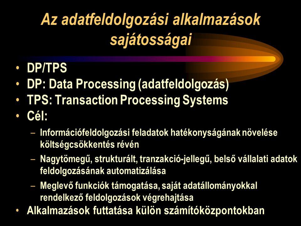 Az adatfeldolgozási alkalmazások sajátosságai