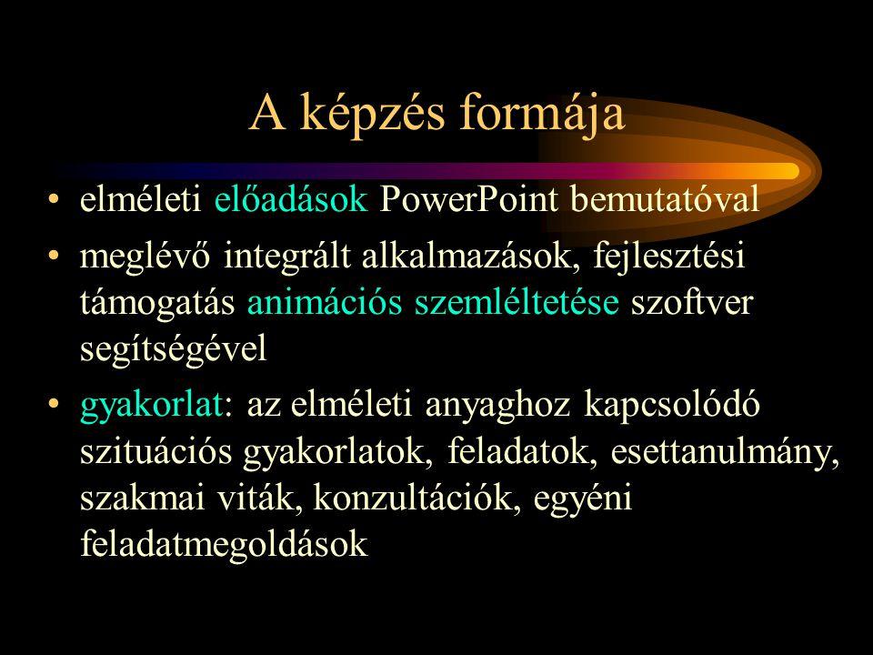 A képzés formája elméleti előadások PowerPoint bemutatóval