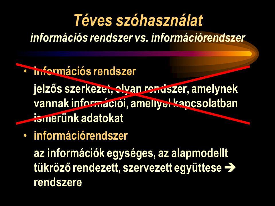 Téves szóhasználat információs rendszer vs. információrendszer