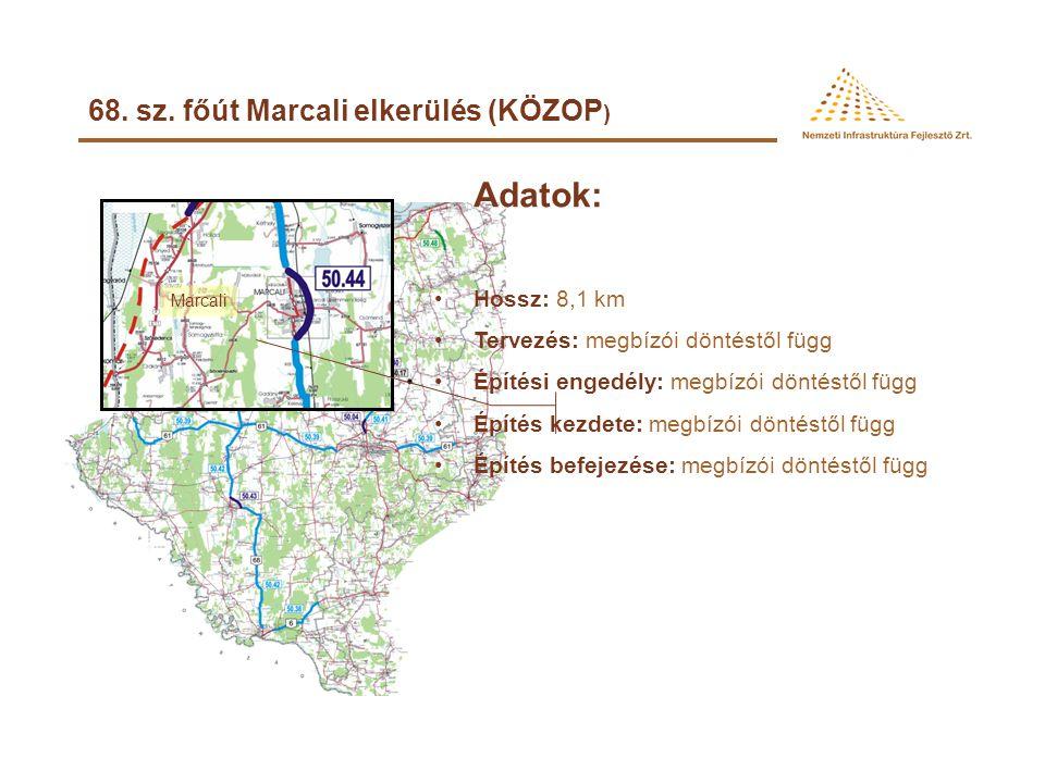 Adatok: 68. sz. főút Marcali elkerülés (KÖZOP) Hossz: 8,1 km