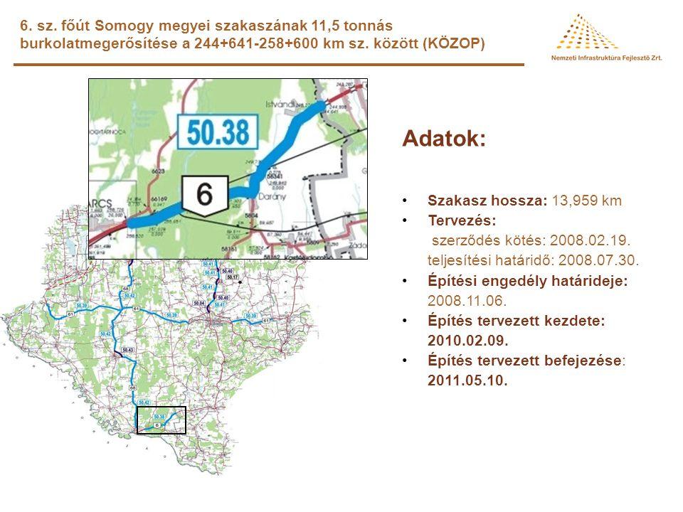 6. sz. főút Somogy megyei szakaszának 11,5 tonnás burkolatmegerősítése a 244+641-258+600 km sz. között (KÖZOP)