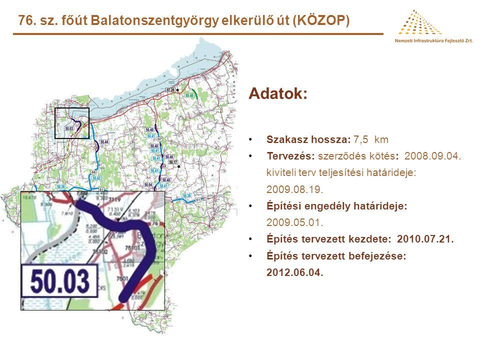 Adatok: 76. sz. főút Balatonszentgyörgy elkerülő út (KÖZOP)