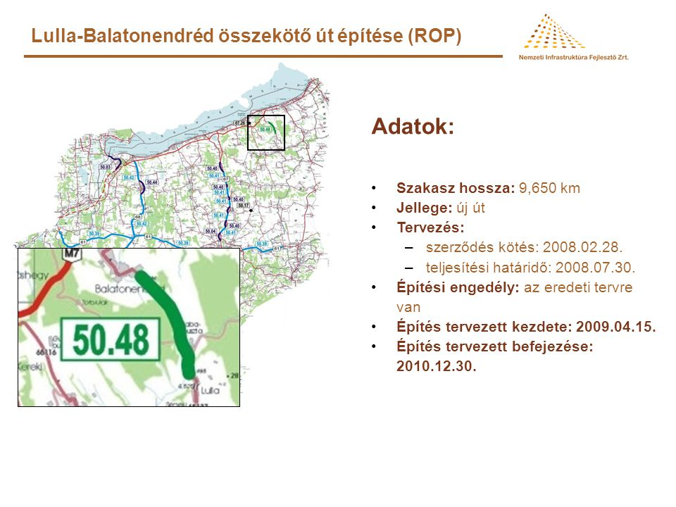 Adatok: Lulla-Balatonendréd összekötő út építése (ROP)