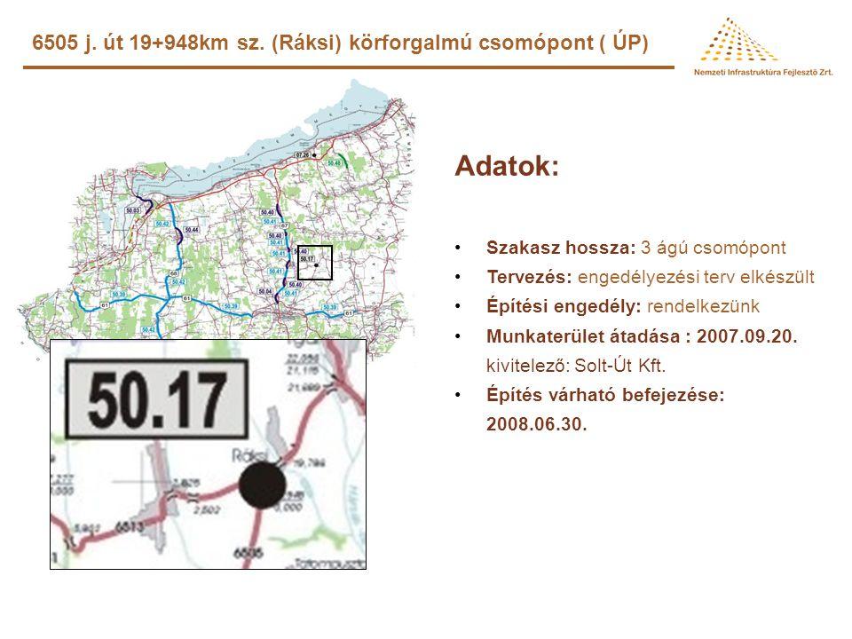 Adatok: 6505 j. út 19+948km sz. (Ráksi) körforgalmú csomópont ( ÚP)