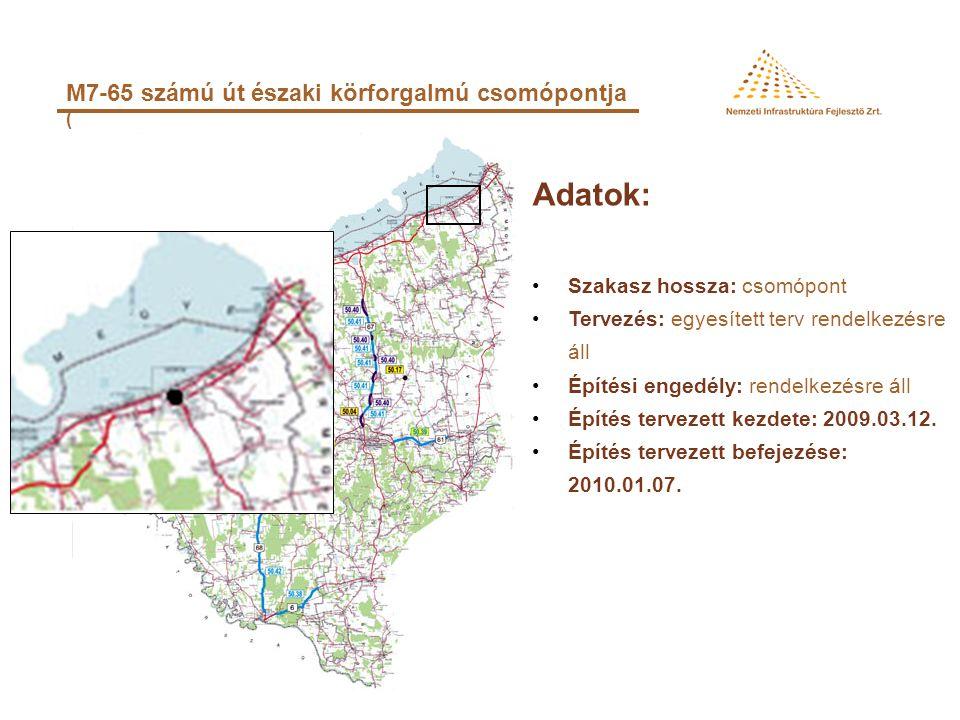 Adatok: M7-65 számú út északi körforgalmú csomópontja (