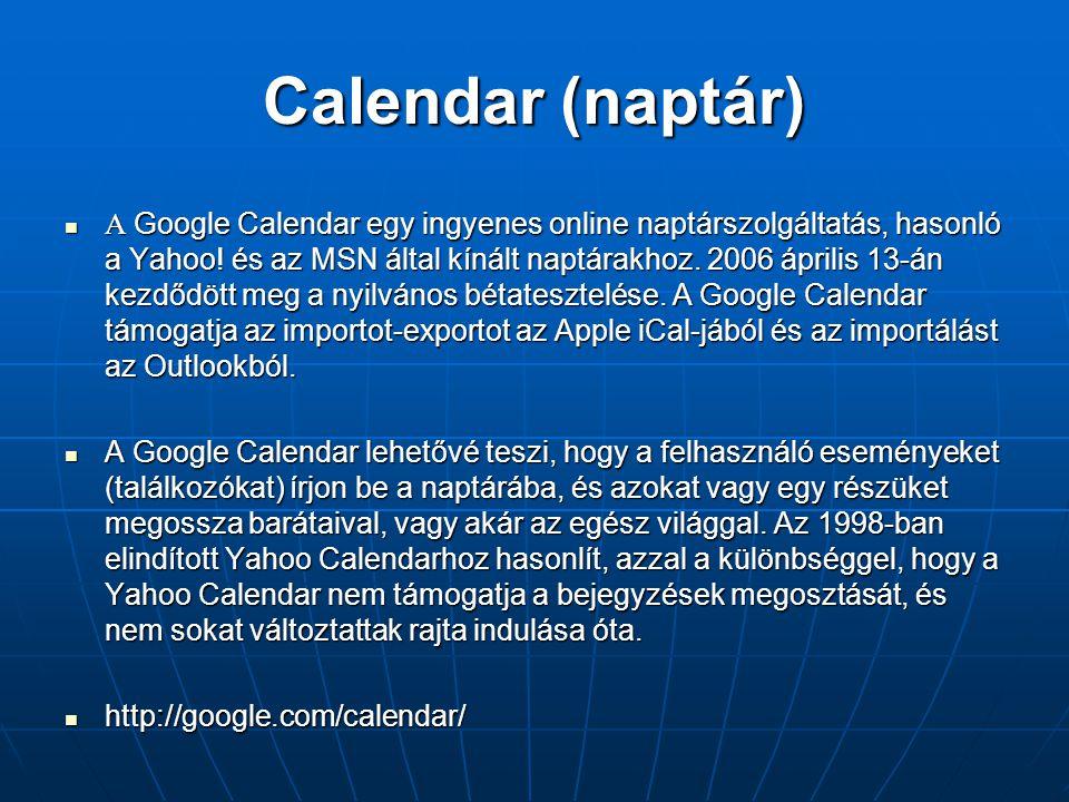 Calendar (naptár)