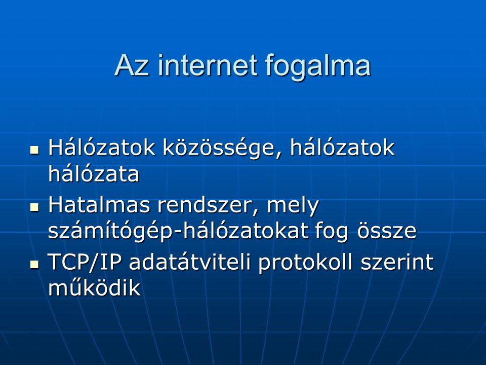 Az internet fogalma Hálózatok közössége, hálózatok hálózata