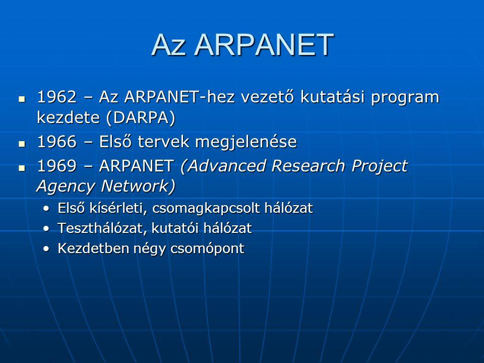 Az ARPANET 1962 – Az ARPANET-hez vezető kutatási program kezdete (DARPA) 1966 – Első tervek megjelenése.