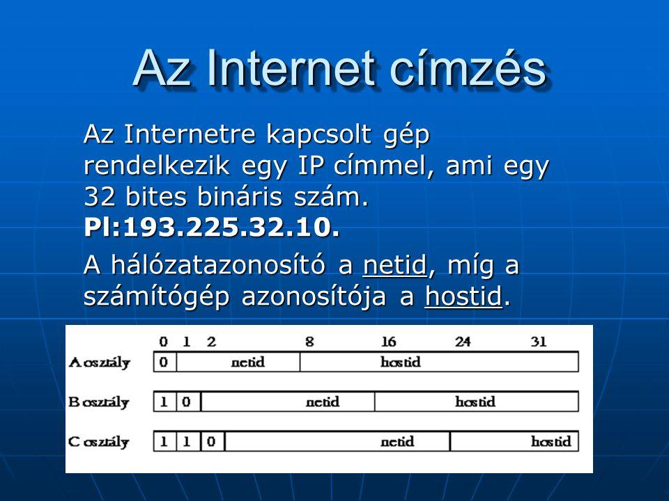 Az Internet címzés Az Internetre kapcsolt gép rendelkezik egy IP címmel, ami egy 32 bites bináris szám. Pl:193.225.32.10.