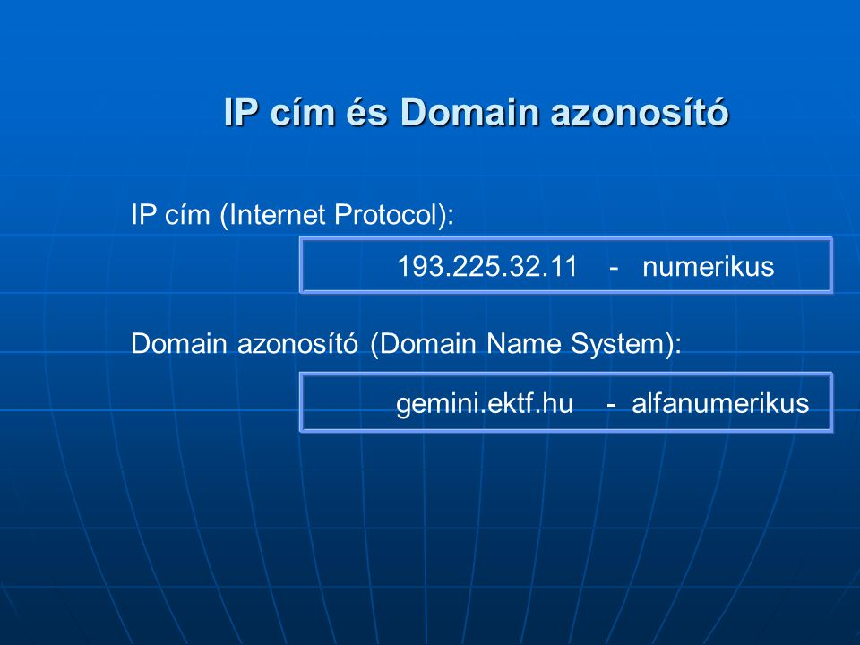 IP cím és Domain azonosító