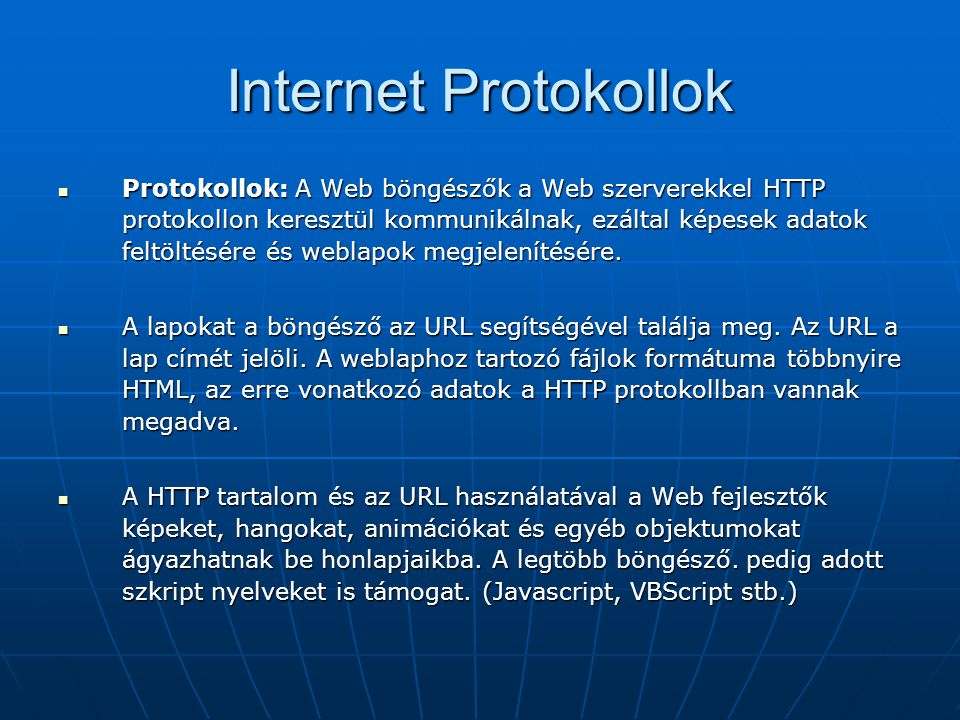 Internet Protokollok