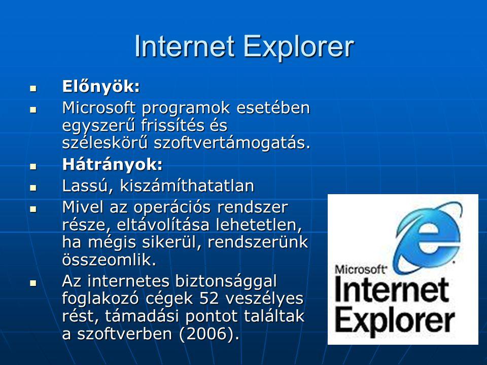 Internet Explorer Előnyök: