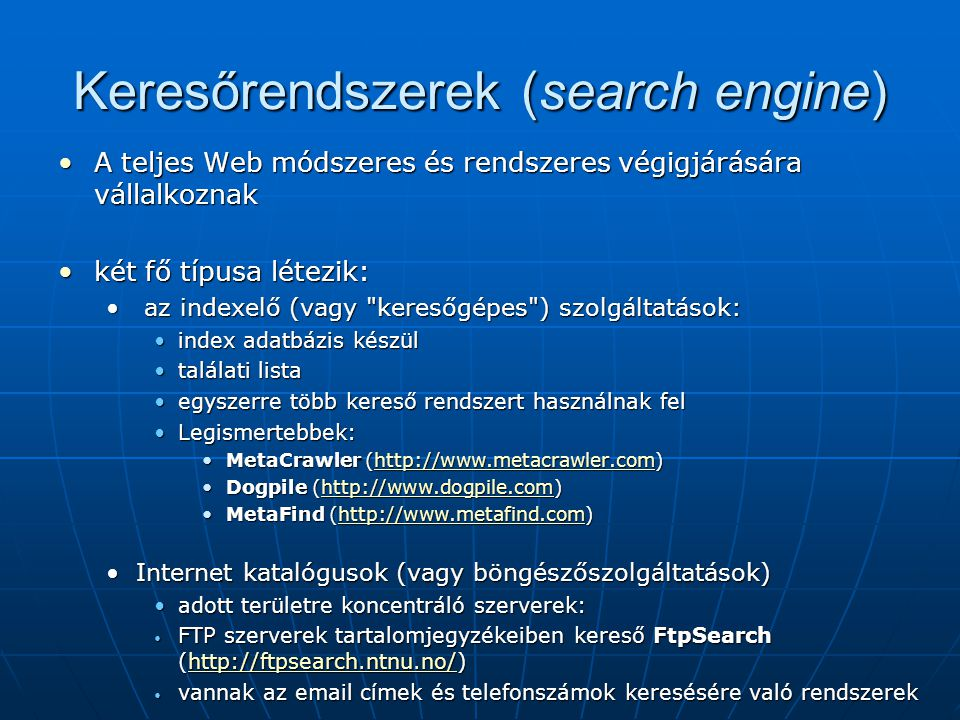 Keresőrendszerek (search engine)