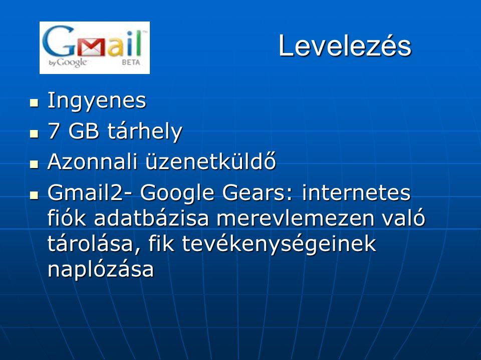 Levelezés Ingyenes 7 GB tárhely Azonnali üzenetküldő