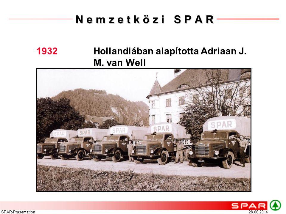 N e m z e t k ö z i S P A R 1932 Hollandiában alapította Adriaan J. M. van Well. SPAR-Präsentation.
