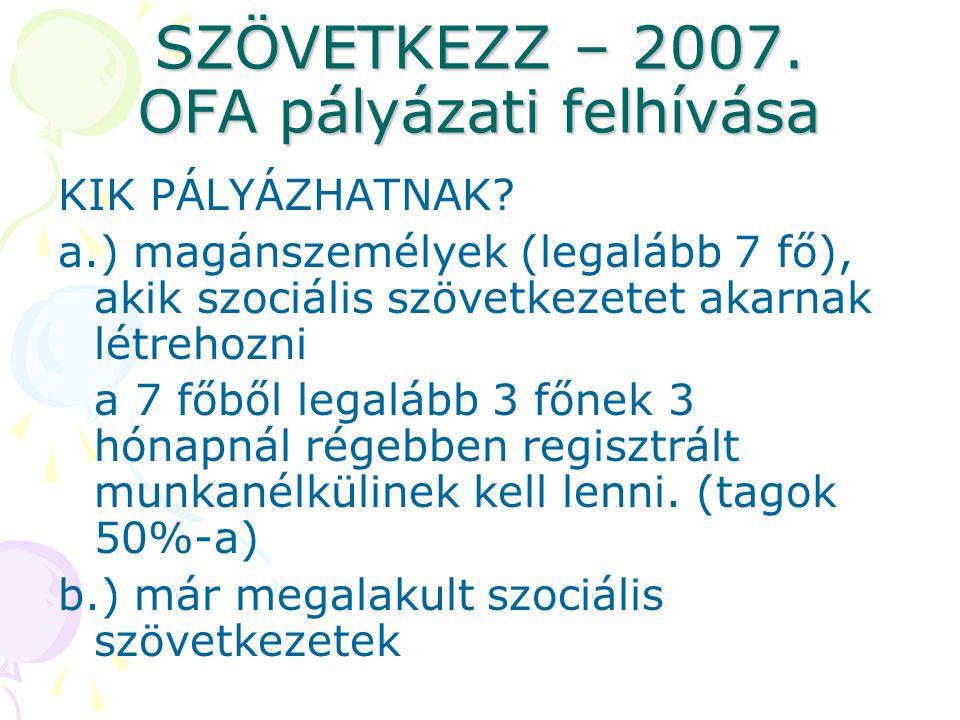 SZÖVETKEZZ – 2007. OFA pályázati felhívása