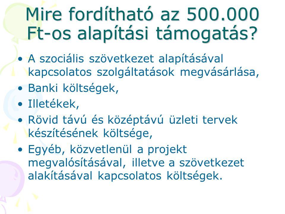 Mire fordítható az 500.000 Ft-os alapítási támogatás
