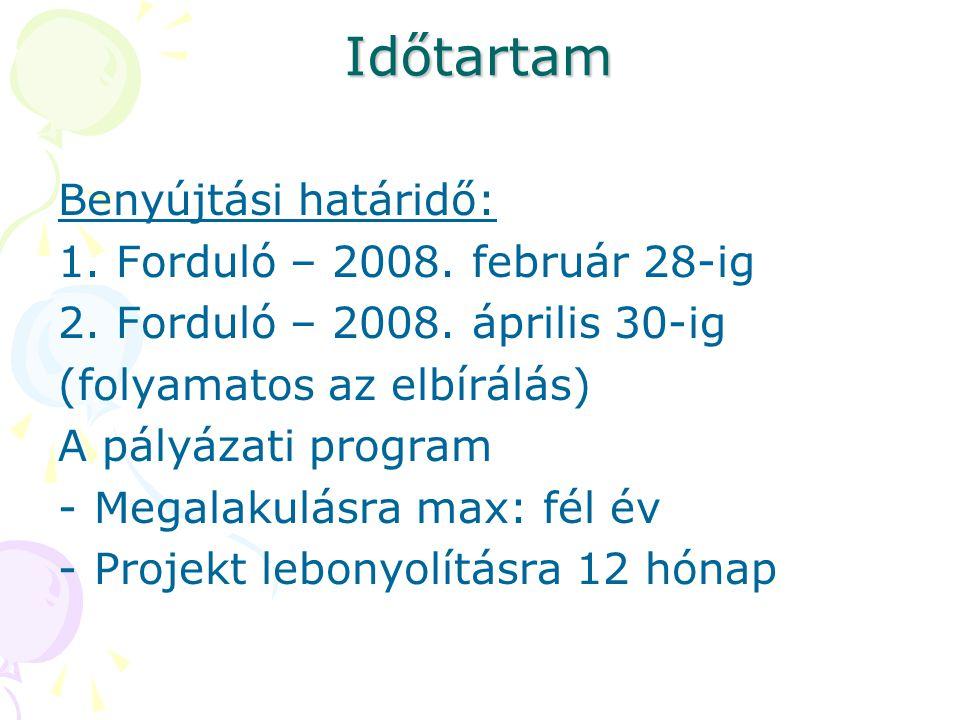 Időtartam Benyújtási határidő: 1. Forduló – 2008. február 28-ig