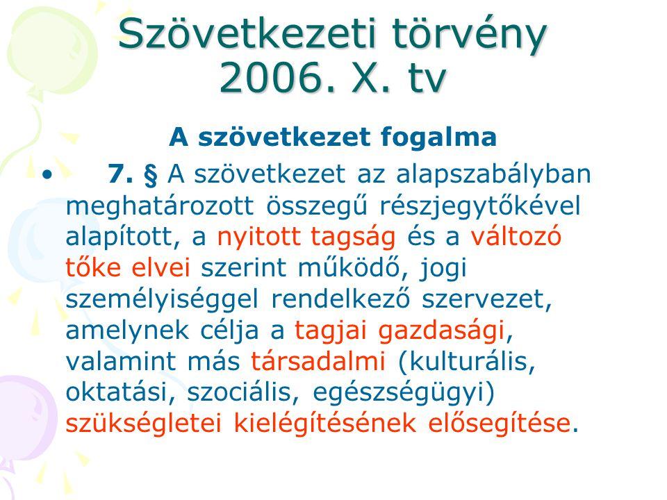Szövetkezeti törvény 2006. X. tv