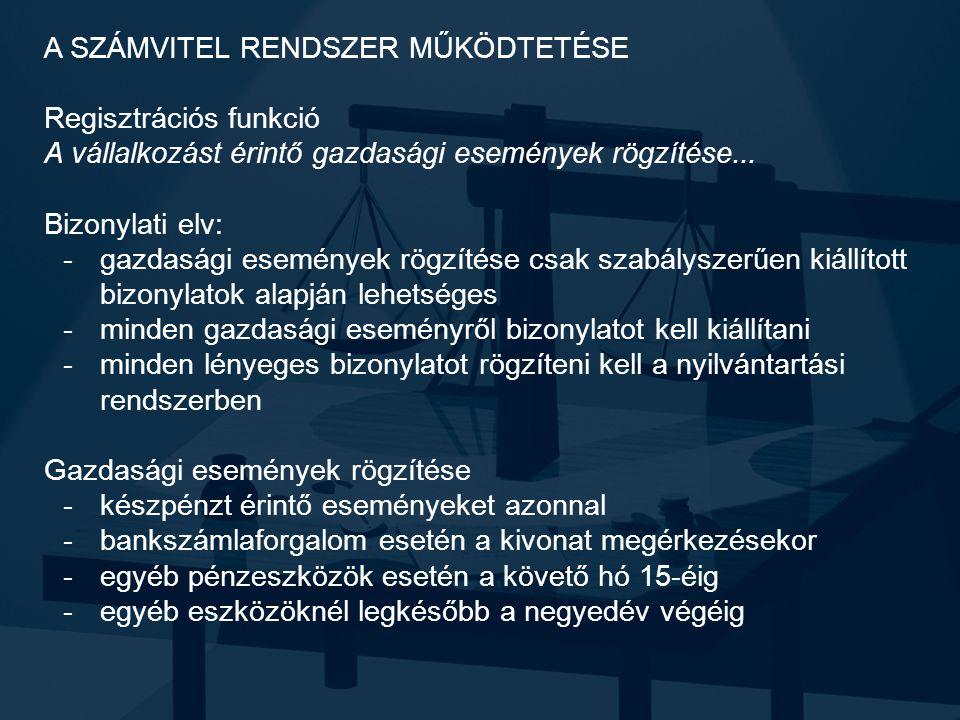 A SZÁMVITEL RENDSZER MŰKÖDTETÉSE