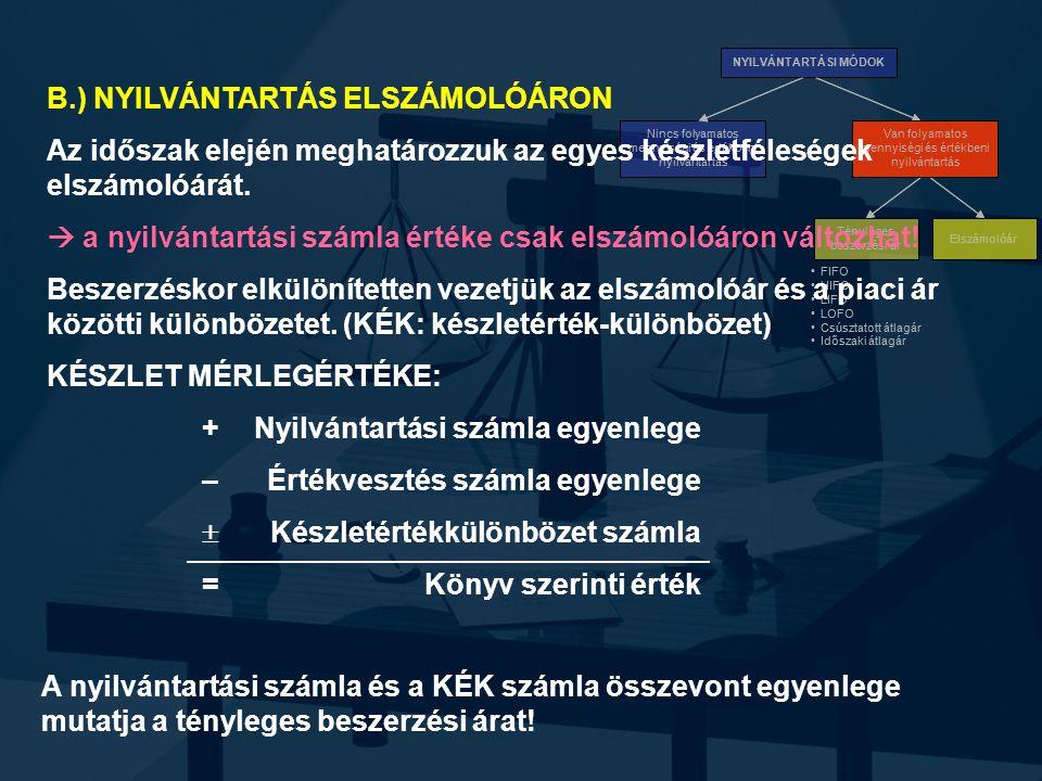 B.) NYILVÁNTARTÁS ELSZÁMOLÓÁRON