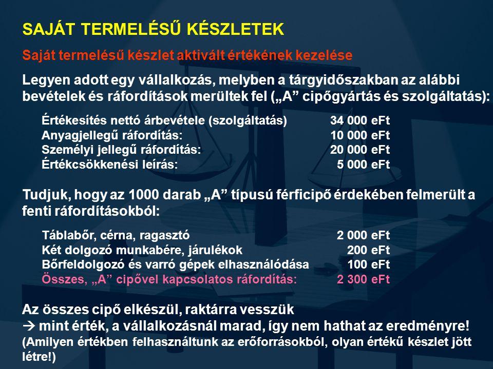 SAJÁT TERMELÉSŰ KÉSZLETEK