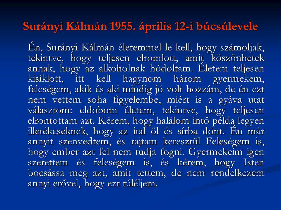 Surányi Kálmán 1955. április 12-i búcsúlevele