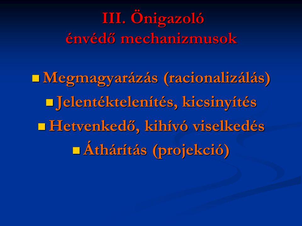 III. Önigazoló énvédő mechanizmusok