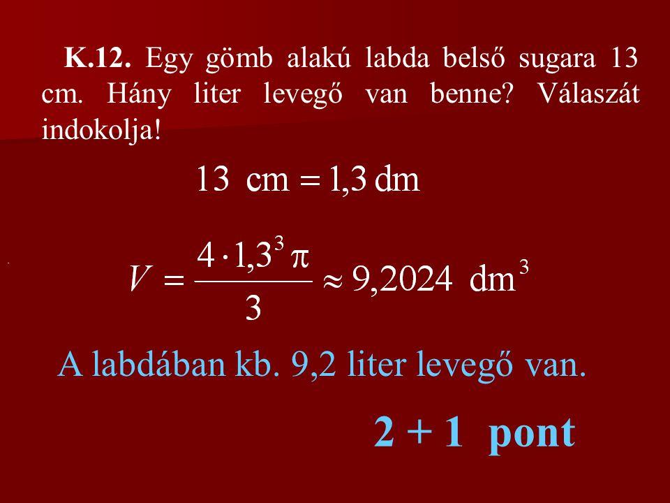 2 + 1 pont A labdában kb. 9,2 liter levegő van.