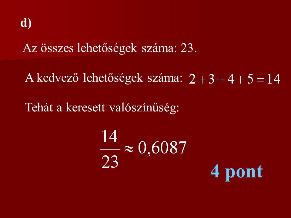 4 pont d) Az összes lehetőségek száma: 23.