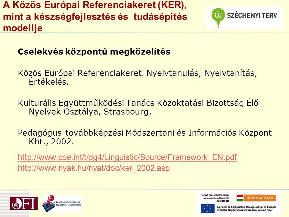 A Közös Európai Referenciakeret (KER), mint a készségfejlesztés és tudásépítés modellje