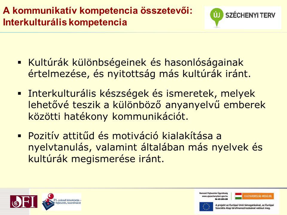 A kommunikatív kompetencia összetevői: Interkulturális kompetencia