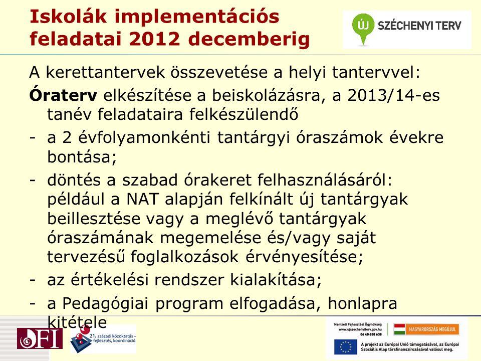 Iskolák implementációs feladatai 2012 decemberig