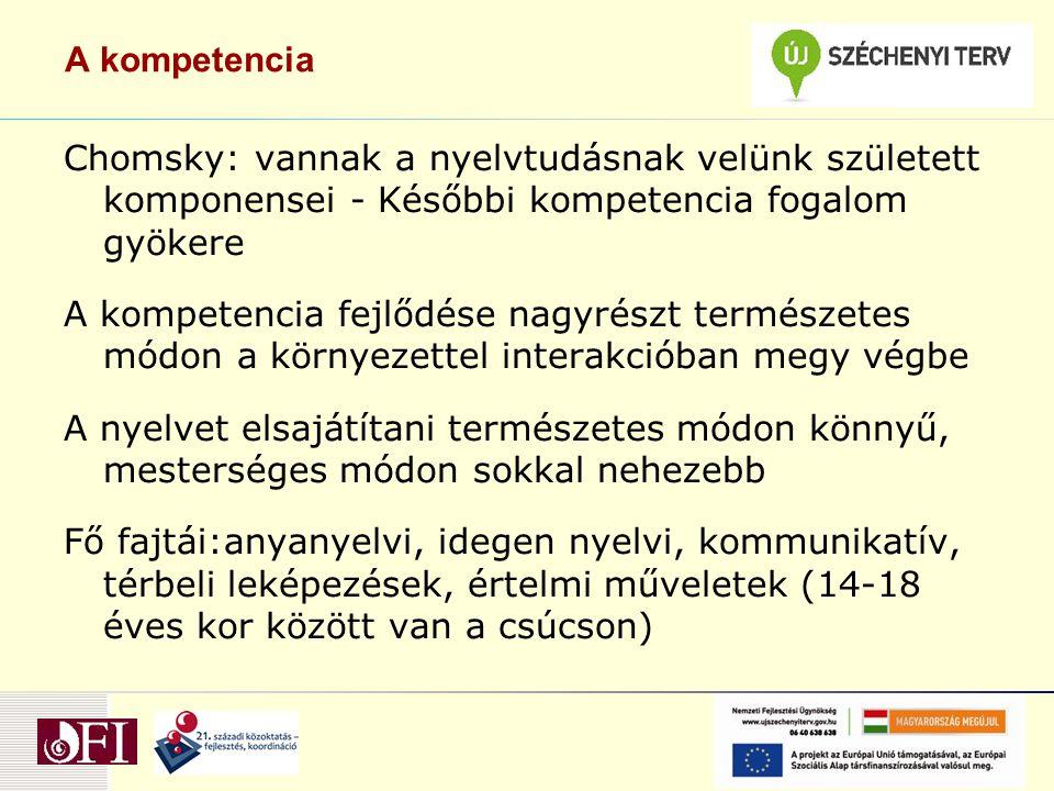 A kompetencia Chomsky: vannak a nyelvtudásnak velünk született komponensei - Későbbi kompetencia fogalom gyökere.