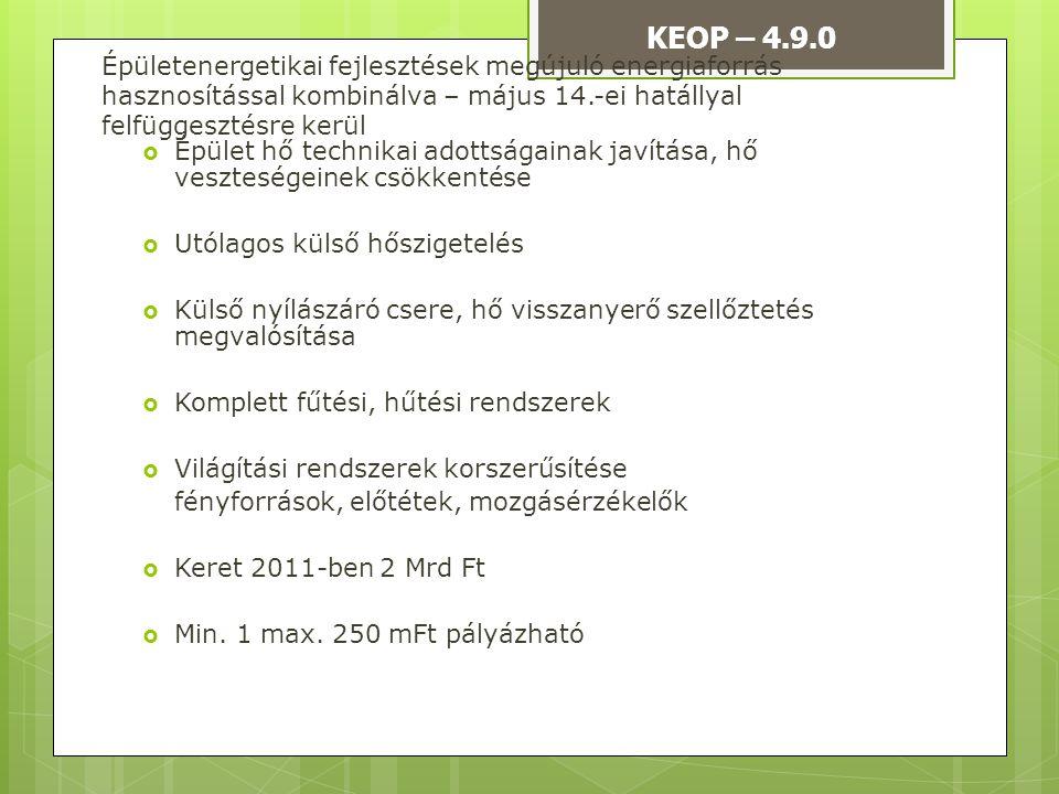 KEOP – 4.9.0 Épületenergetikai fejlesztések megújuló energiaforrás hasznosítással kombinálva – május 14.-ei hatállyal felfüggesztésre kerül.