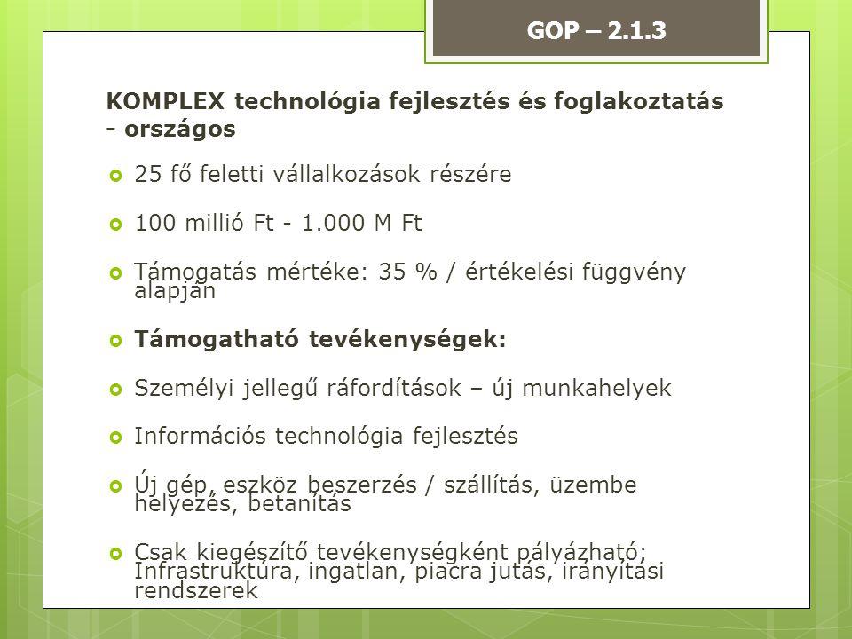 KOMPLEX technológia fejlesztés és foglakoztatás - országos