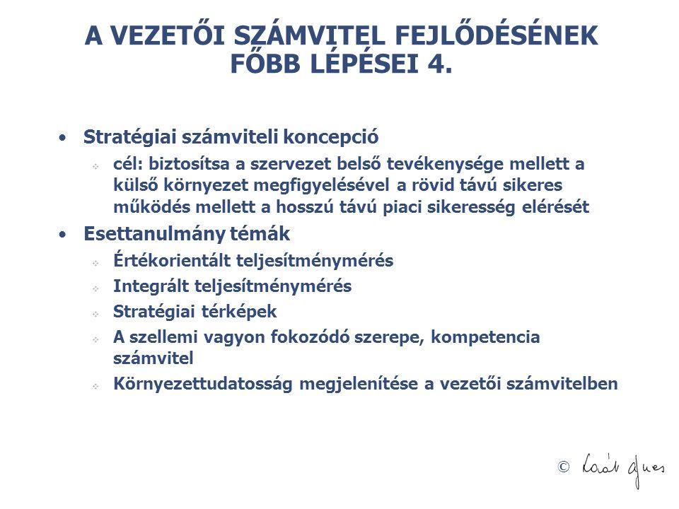 A VEZETŐI SZÁMVITEL FEJLŐDÉSÉNEK FŐBB LÉPÉSEI 4.