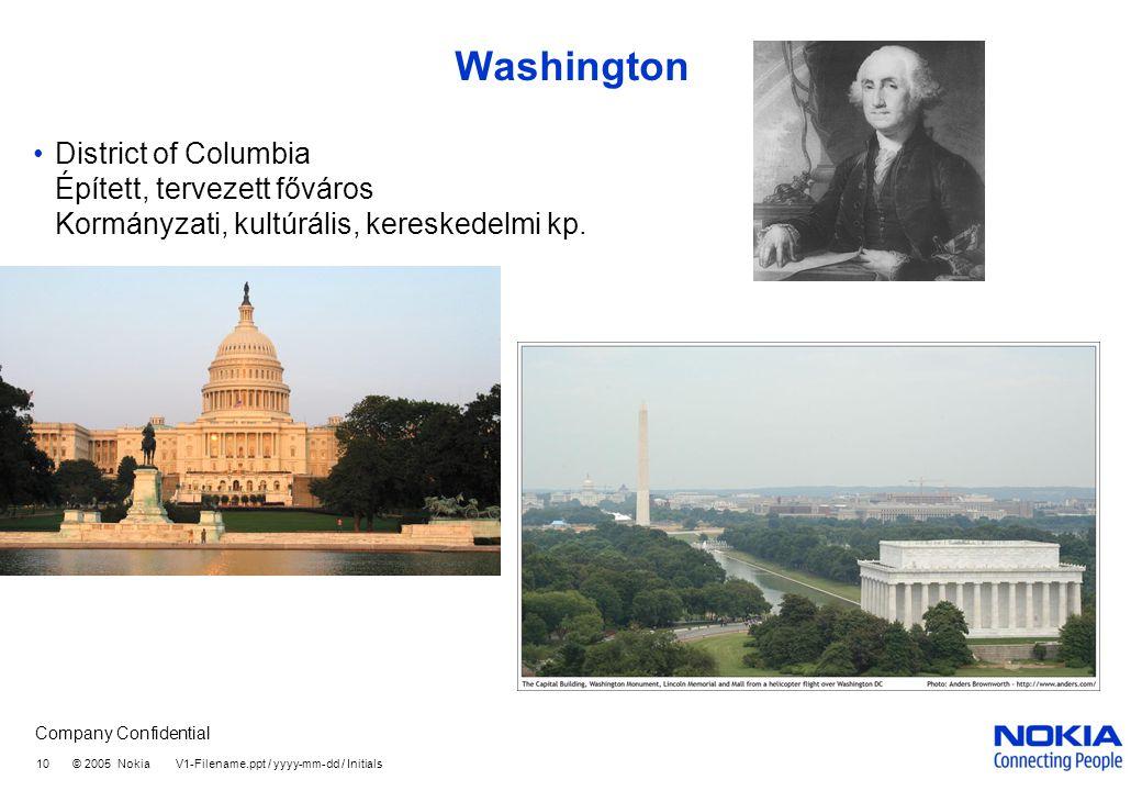 Washington District of Columbia Épített, tervezett főváros Kormányzati, kultúrális, kereskedelmi kp.