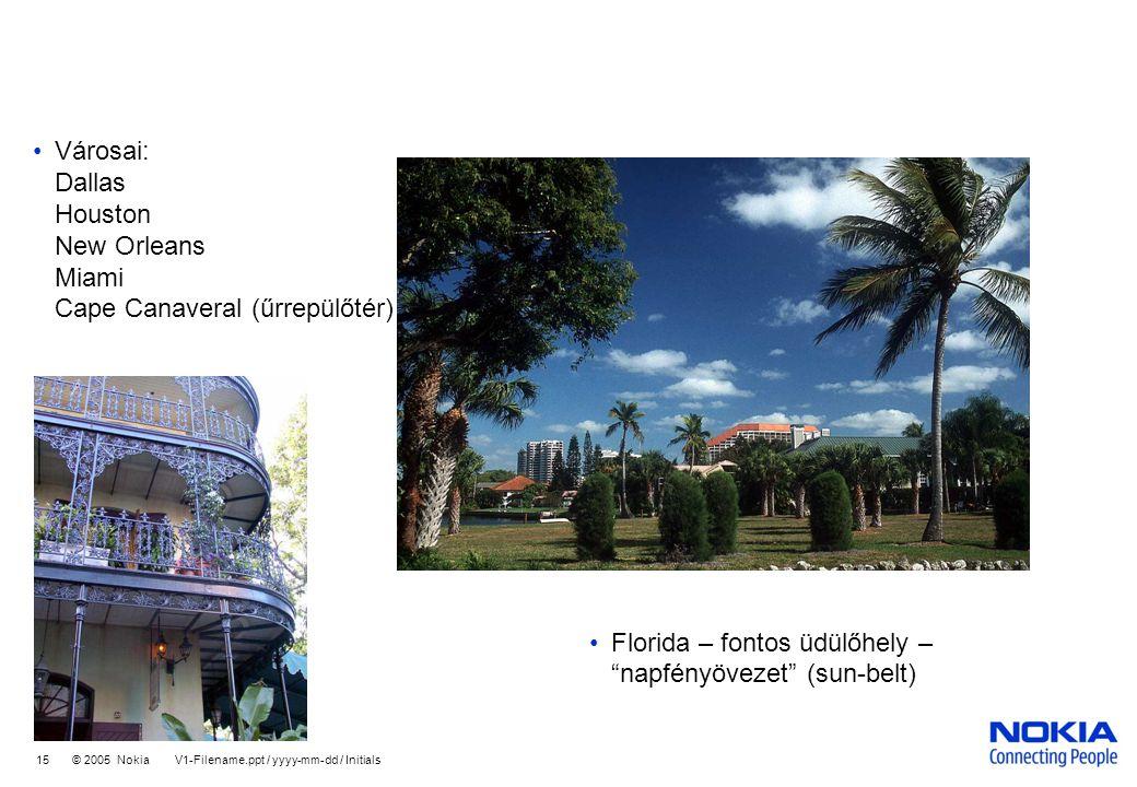 Városai: Dallas Houston New Orleans Miami Cape Canaveral (űrrepülőtér)