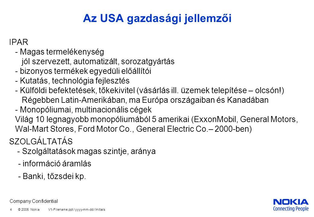 Az USA gazdasági jellemzői