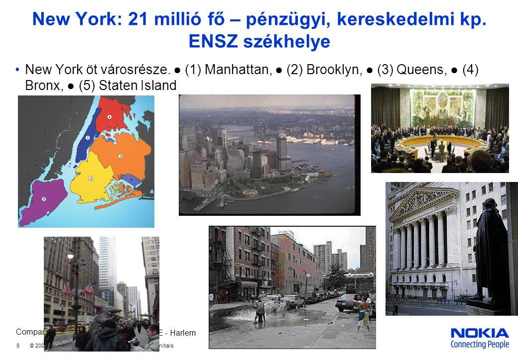 New York: 21 millió fő – pénzügyi, kereskedelmi kp. ENSZ székhelye
